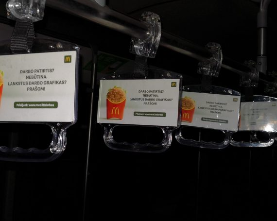 McDonald's advertising in public transport handles
