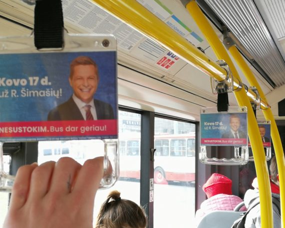 Mayor advertising in public transport handles