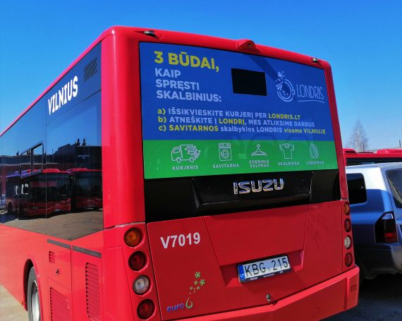 Londris self-service laundry advertising on buses