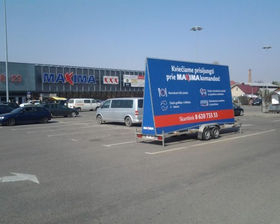 Maxima clients advertising trailer in Kaunas