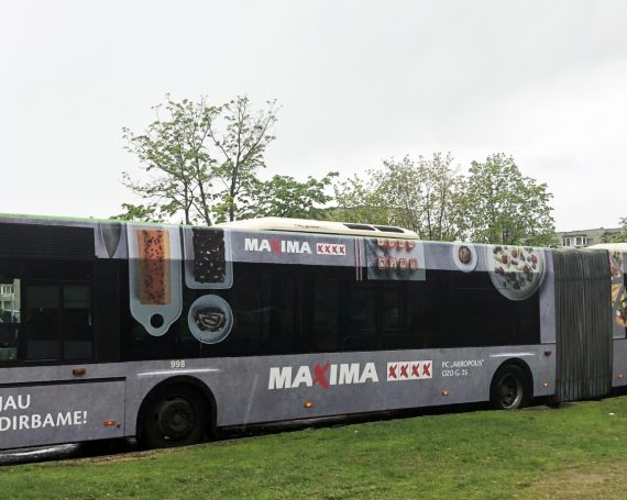 Maxima shops advertising on buses