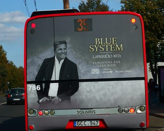 Blue system concert advertising on buses