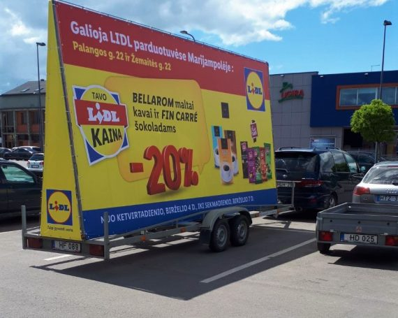 LIDL clients ad on advertising trailer in Marijampole
