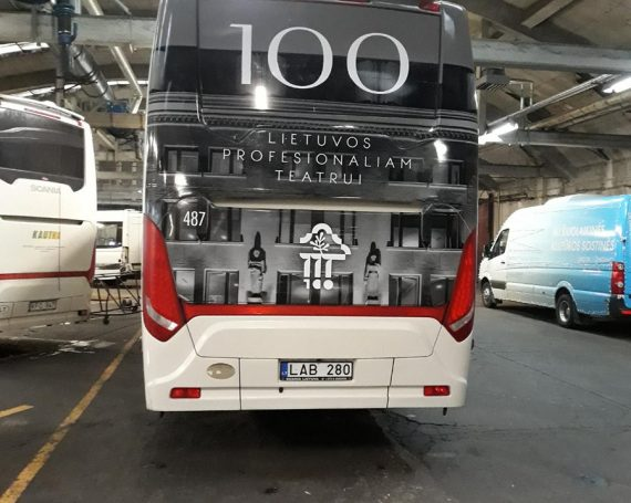 Lithuanian theaters ad on buses